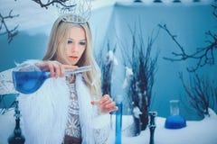 Zimy piękna kobieta Piękna moda modela dziewczyna z szklaną kolby fryzurą, makijażem w zimy laboratorium i Świąteczny makeup i zdjęcia royalty free