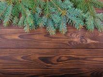 Zimy pojęcie jedlina na brown drewnianym tle Fotografia Stock