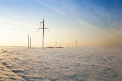 Zimy pole, zmierzch Fotografia Stock