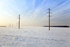 Zimy pole, zmierzch Obraz Stock