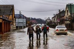 Zimy powódź w Transcarpathian regionie Ukraina Fotografia Stock