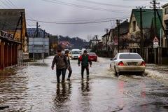 Zimy powódź w Transcarpathian regionie Ukraina Zdjęcia Royalty Free