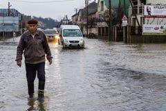 Zimy powódź w Transcarpathian regionie Ukraina Fotografia Royalty Free