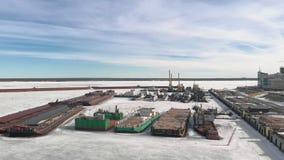 Zimy pozycja logistycznie statki, powietrzna ekranizacja zbiory wideo