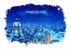 Zimy Praga pejzaż miejski Fotografia Stock