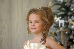zimy princess przy choinką Obrazy Stock