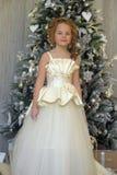 zimy princess przy choinką Obraz Royalty Free