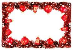 Zimy ramy granicy tło z czerwonymi piłkami i girlandą Obraz Stock