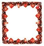 Zimy ramy granicy tło z czerwonymi piłkami i girlandą Zdjęcie Stock