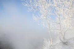 Zimy rzeka Lód i mgła Zimy rzeka Lód i mgła Fotografia Stock