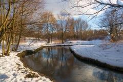 Zimy rzeka słońce 2016 i śnieg, Zdjęcia Royalty Free