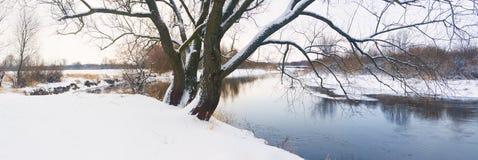Zimy rzeki krajobraz Zdjęcie Stock