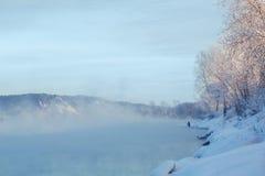Zimy rzeki krajobraz Obraz Royalty Free