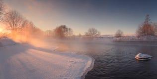 Zimy słońca połysk przez mgły obrazy stock