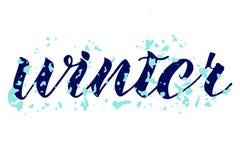 Zimy słowa ręka pisać Abstrakcjonistyczna płatek śniegu tekstura ilustracja wektor