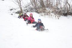 Zimy saneczkowania zabawa Fotografia Stock