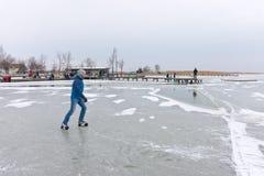 Zimy scena przy Strandbad Weiden am Neusiedlersee Fotografia Royalty Free