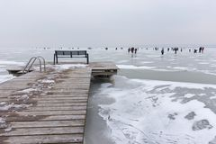 Zimy scena przy Strandbad Weiden am Neusiedlersee Obrazy Royalty Free