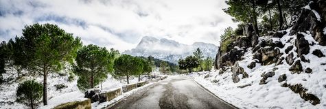 Zimy scena w Grazalema, Cadiz obrazy stock
