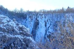 Zimy scena w parka narodowego Plitvice jeziorach, Chorwacja zdjęcia stock