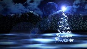 Zimy scena z nocnego nieba t?em, lasu nowego roku ?nie?nymi bo?ymi narodzeniami i ksi??yc ?nie?na choinka P?tli cg animacja ilustracja wektor