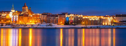 Zimy sceneria Grudziadz przy Vistula rzeką Zdjęcia Royalty Free