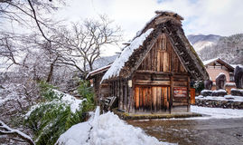 Zimy sceneria w Shirakawago wiosce, Japonia Fotografia Stock