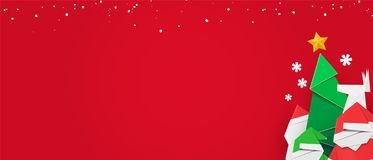 Zimy sieci sztandar z świątecznym projektem, czerwonym tłem i kopii przestrzenią, royalty ilustracja