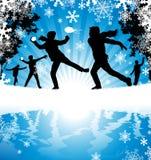 Zimy Snowball walka Obrazy Royalty Free