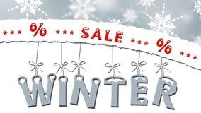 Zimy sprzedaż - drzejący papier z tekstem, listy wiesza na taśmach Zdjęcie Stock