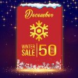 Zimy sprzedaż Grudzień 50% Z Wektorowego wizerunku Fotografia Royalty Free