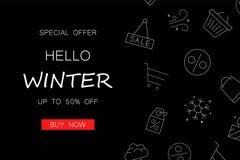 Zimy sprzedaży czerni tło z kreskową ikoną ilustracja wektor