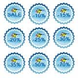 Zimy sprzedaży etykietki z chickadee ilustracji
