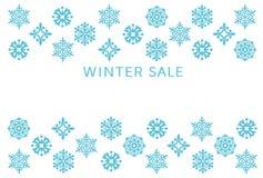 Zimy sprzedaży karta z śnieżnymi kryształami royalty ilustracja