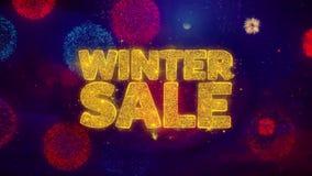Zimy sprzedaży powitania teksta błyskotania cząsteczki na barwionych fajerwerkach