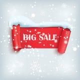 Zimy sprzedaży tło z czerwonym realistycznym sztandarem ilustracji