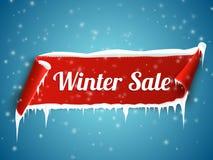 Zimy sprzedaży tło z czerwonym realistycznym tasiemkowym sztandarem i śniegiem ilustracji