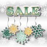 Zimy sprzedaży tło z jaskrawymi płatkami śniegu Fotografia Stock