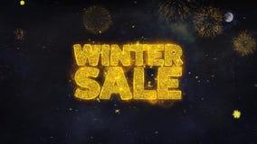 Zimy sprzedaży teksta życzenia Wyjawiają Od fajerwerk cząsteczek kartki z pozdrowieniami ilustracji