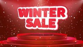 Zimy sprzedaży teksta animacji sceny podium confetti pętli animacja royalty ilustracja