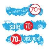 Zimy sprzedaży wektorowy sztandar ustawiający z sprzedażą dla sezonowego royalty ilustracja