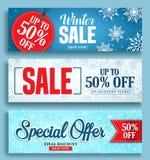 Zimy sprzedaży wektorowy sztandar ustawiający z sprzedaż rabata etykietkami w śnieżnym kolorowym tle i tekstami Zdjęcie Stock