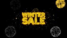 Zimy sprzedaży złoty tekst mruga cząsteczki z złotym fajerwerku pokazem