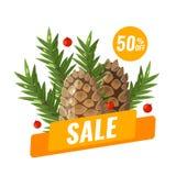 Zimy sprzedaży sztandar z z sosen szyszkowymi i jedlinowymi branchs ilustracji