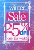Zimy sprzedaż 25% z dyskontowego wektorowego ulotka szablonu ilustracja wektor