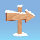 Zimy strzała drewniana deska Obrazy Royalty Free