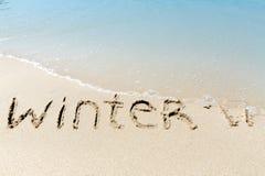 Zimy 2017 szyldowy piasek blisko dennej oceanu zwrotnika plaży Obrazy Royalty Free