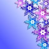 Zimy tło z 3d kolorowymi płatkami śniegu Zdjęcie Stock