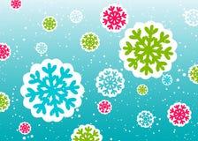 Zimy tło z kolorowymi płatkami śniegu Fotografia Royalty Free