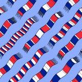 Zimy tło z Francja flaga Scarves Bezszwowy wektorowy patt Obraz Royalty Free